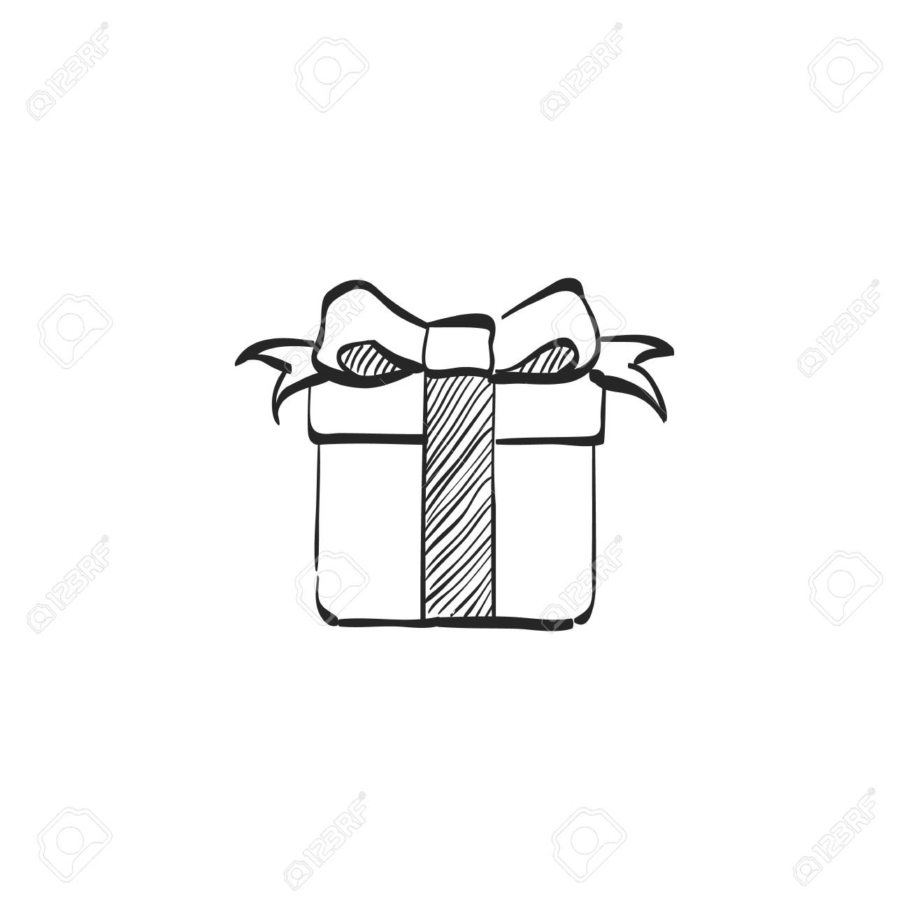 Christmas Birthday Image.Gift Box Icon In Doodle Sketch Lines Holiday Christmas Birthday