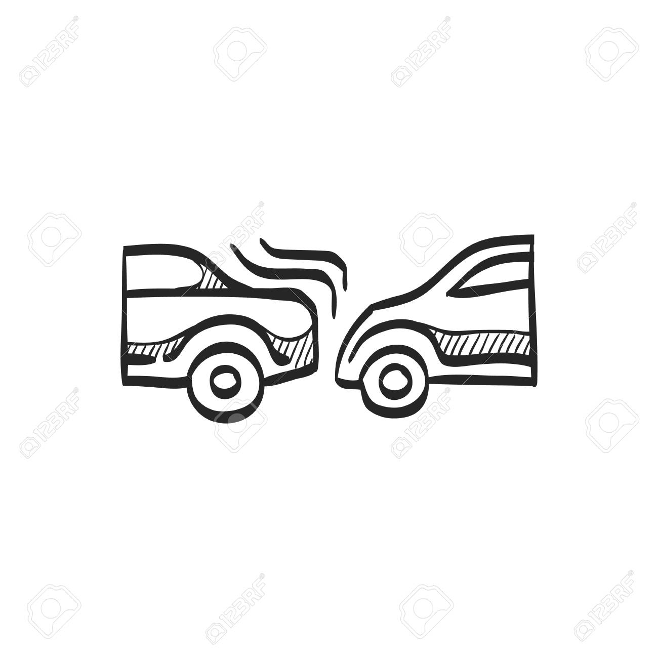 Car Crash Icon In Doodle Sketch Lines. Automotive Accident Incident ...