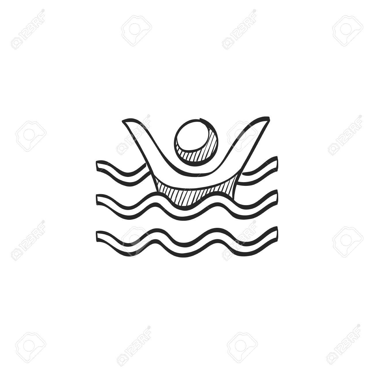 Drowned Man Icon In Doodle Sketch Lines. People Accident Water ...