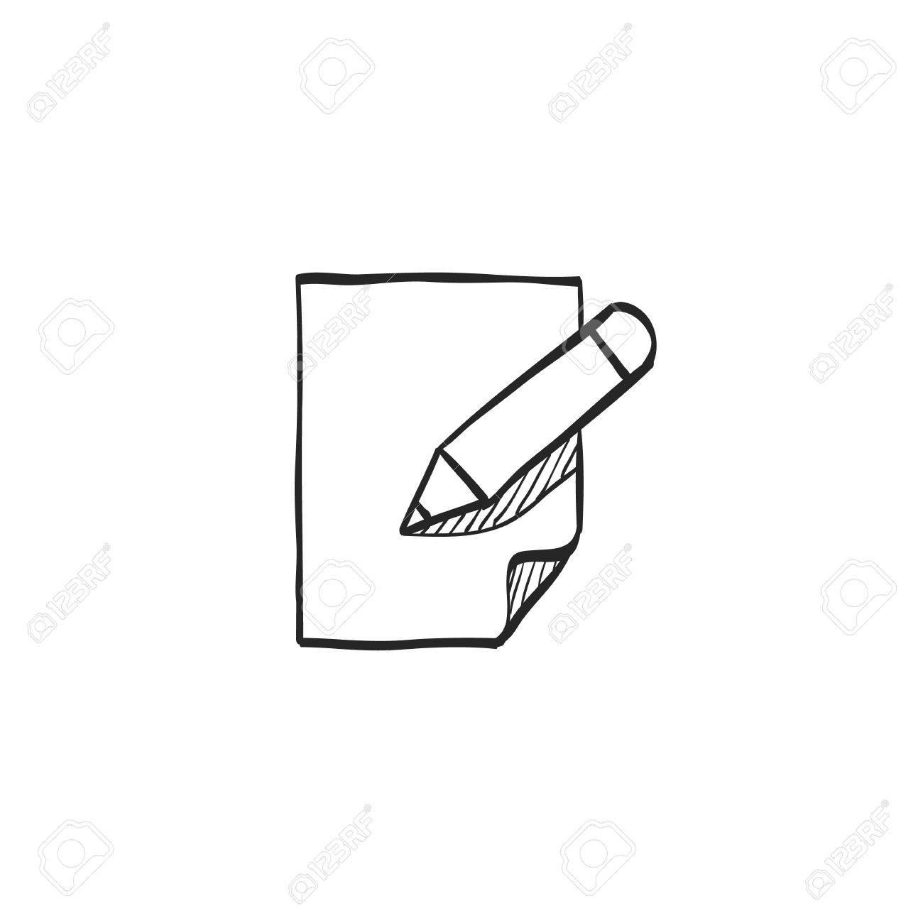 Dokument Bearbeiten Symbol In Doodle-Skizze-Linien. Büro Business ...