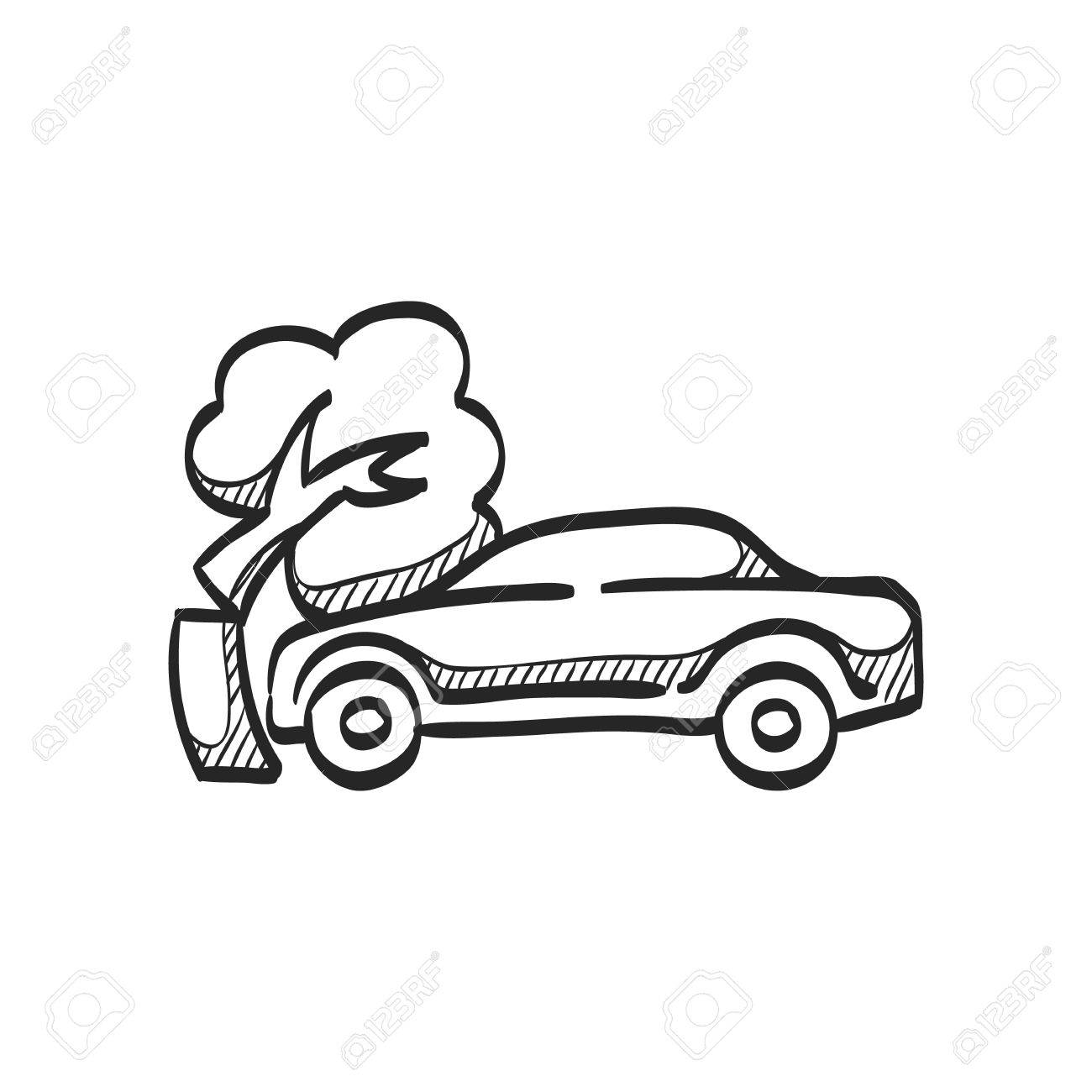 Car Crash Icon In Doodle Sketch Lines. Automotive Accident Incident ...