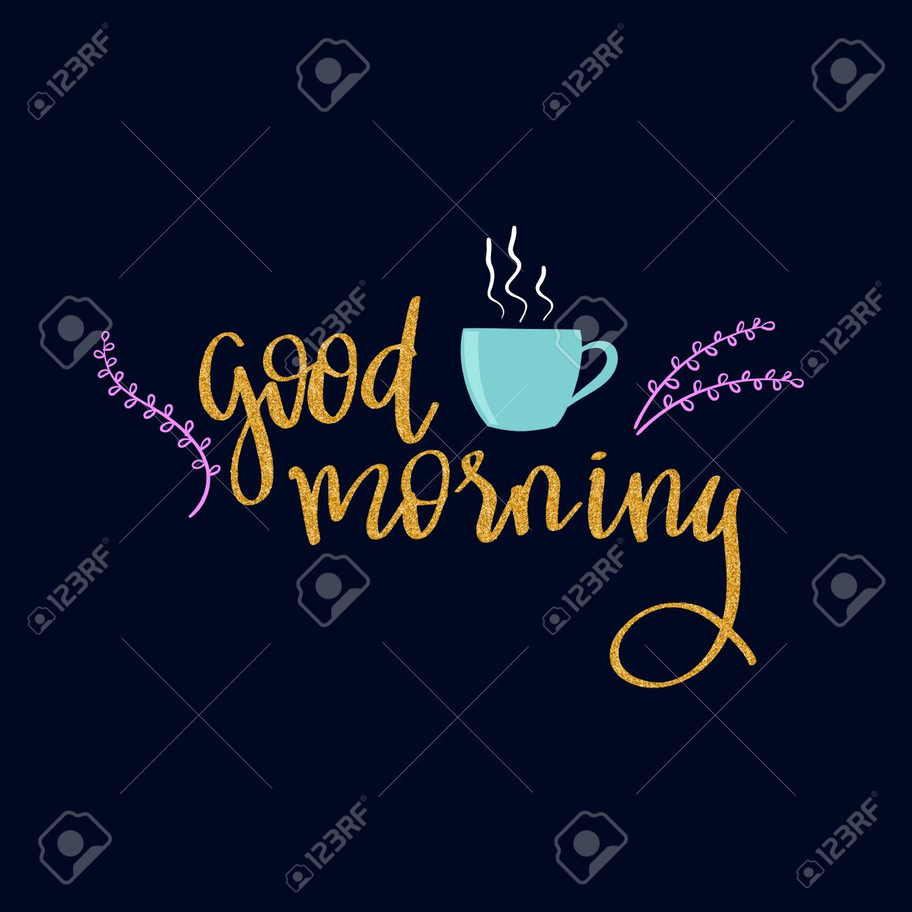 Lettering Words In Gold Glitter Style Good Morning Royalty Free