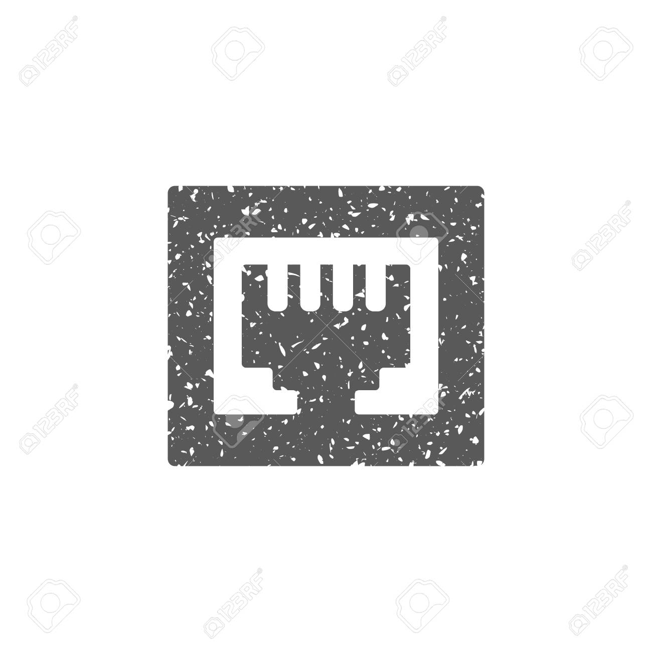 Local area connector icon in grunge texture. Vintage style vector illustration. - 105574576