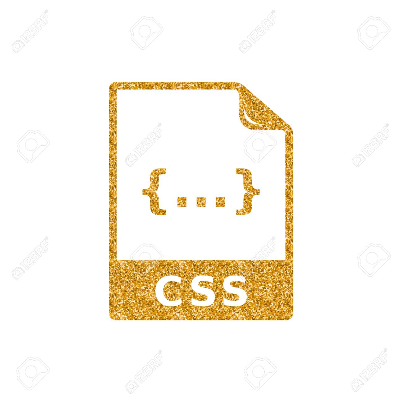 CSS file format icon in gold glitter texture  Sparkle luxury