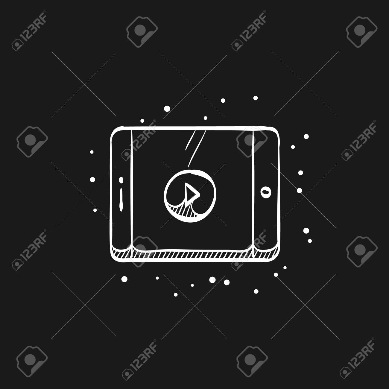 Movie play symbol icon in doodle sketch lines  Entertainment
