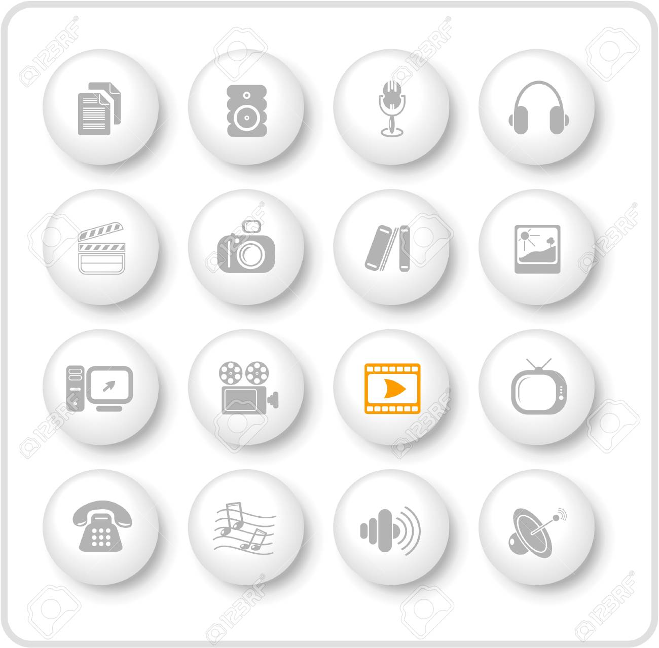 Miscellaneous multimedia raster icons. Vector version is available in my portfolio Stock Vector - 3024502