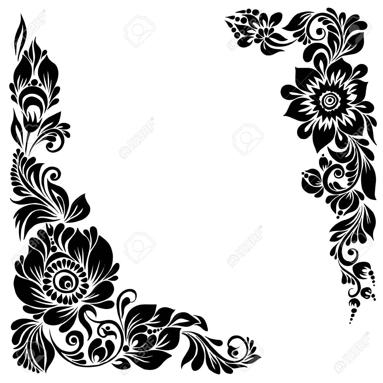 Beautiful Corner Background Black And White Frame With Floral