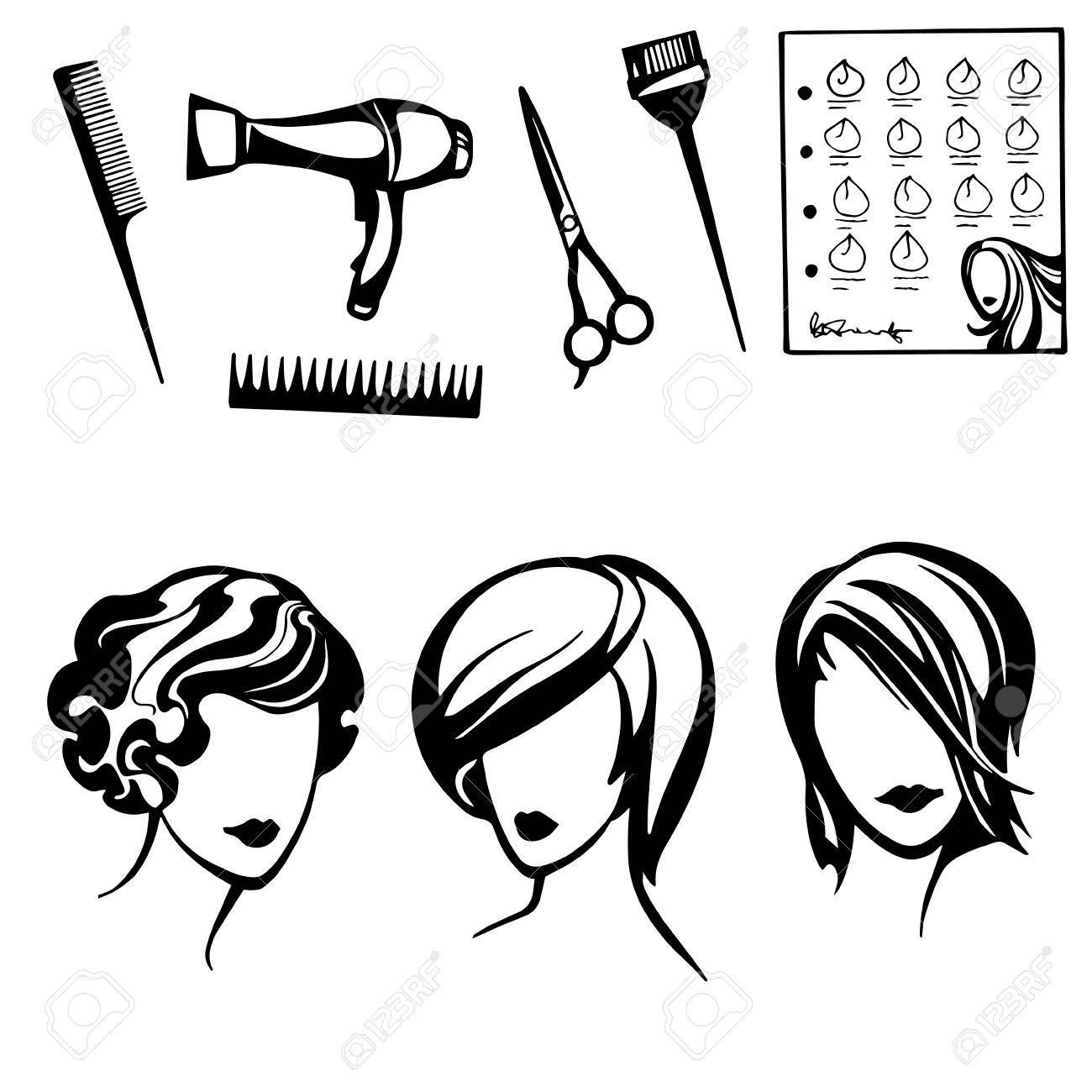 vector set of stylized logo with women's hairstyles and hairdressers