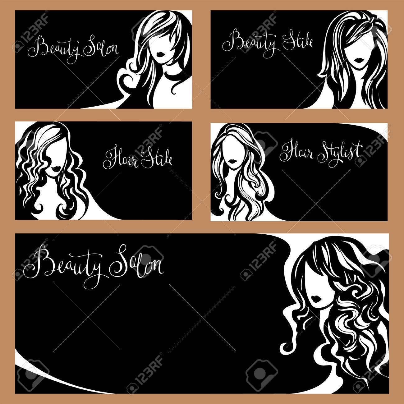 Vector collection of business cards for beauty salon hairdressers vector vector collection of business cards for beauty salon hairdressers stylists and makeup artists black and white set of images of women to reheart Choice Image
