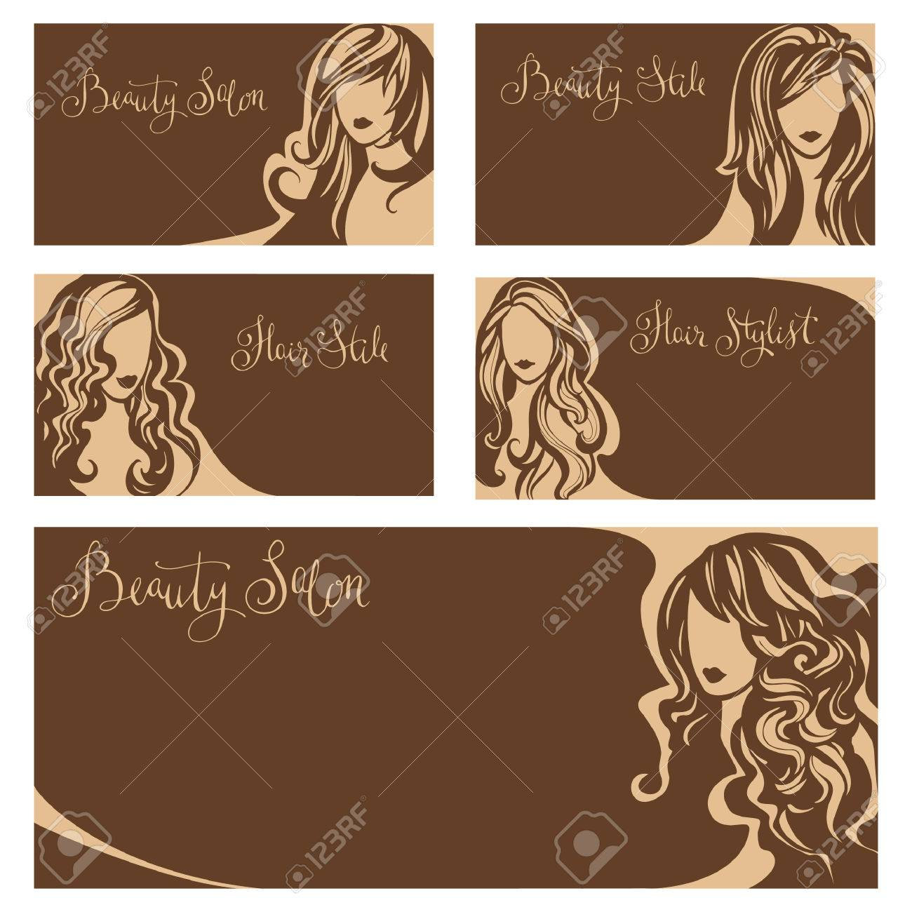 Vector Vintage Collection Of Business Cards For Beauty Salon