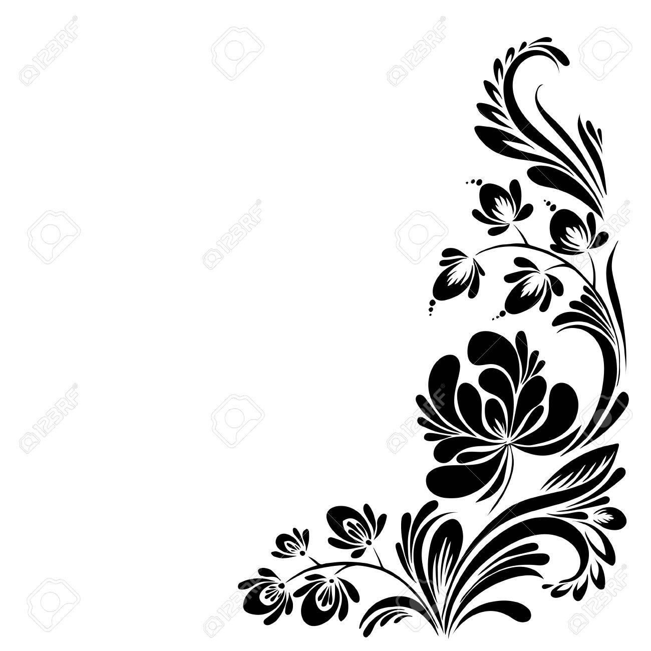 Vector Black And White Pattern With Flowers An Ethnic Ukrainian