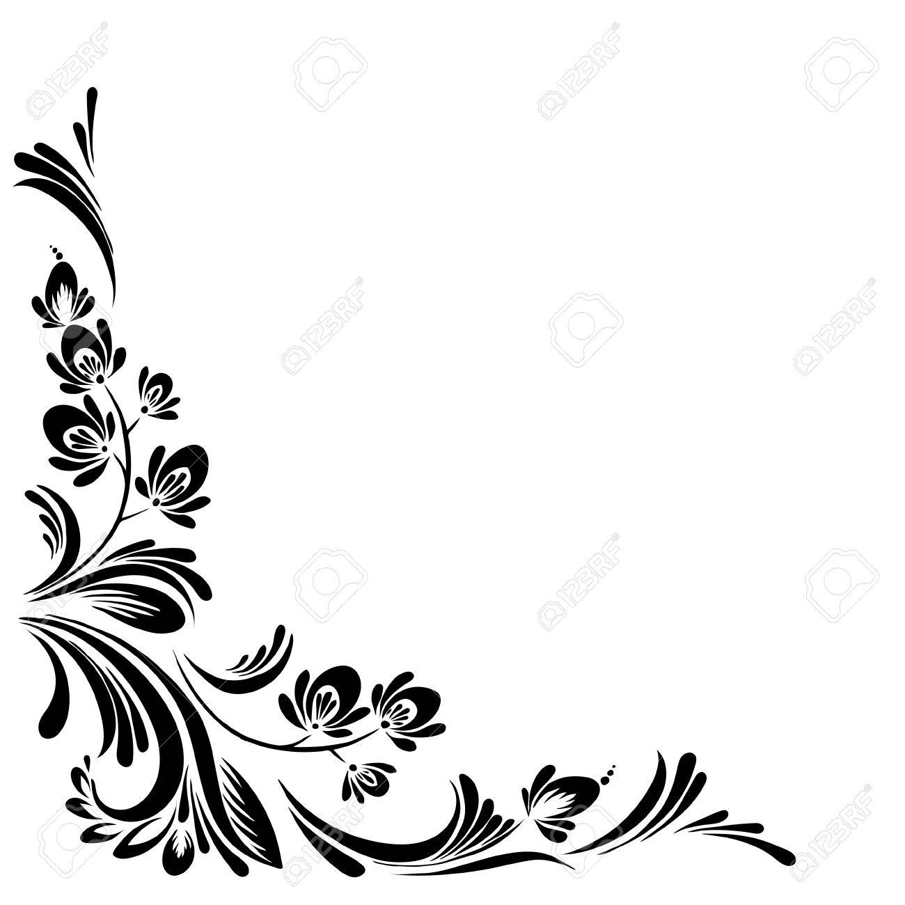 vector Black and white pattern with flowers, an ethnic Ukrainian ornament - 70446405