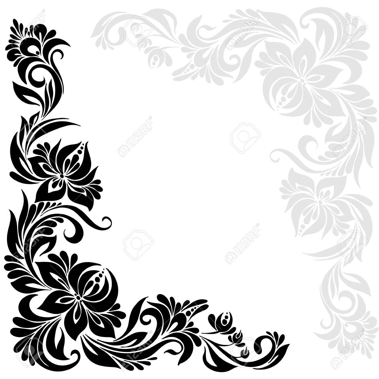 Vector Black And White Pattern With Flowers, An Ethnic Ukrainian ...