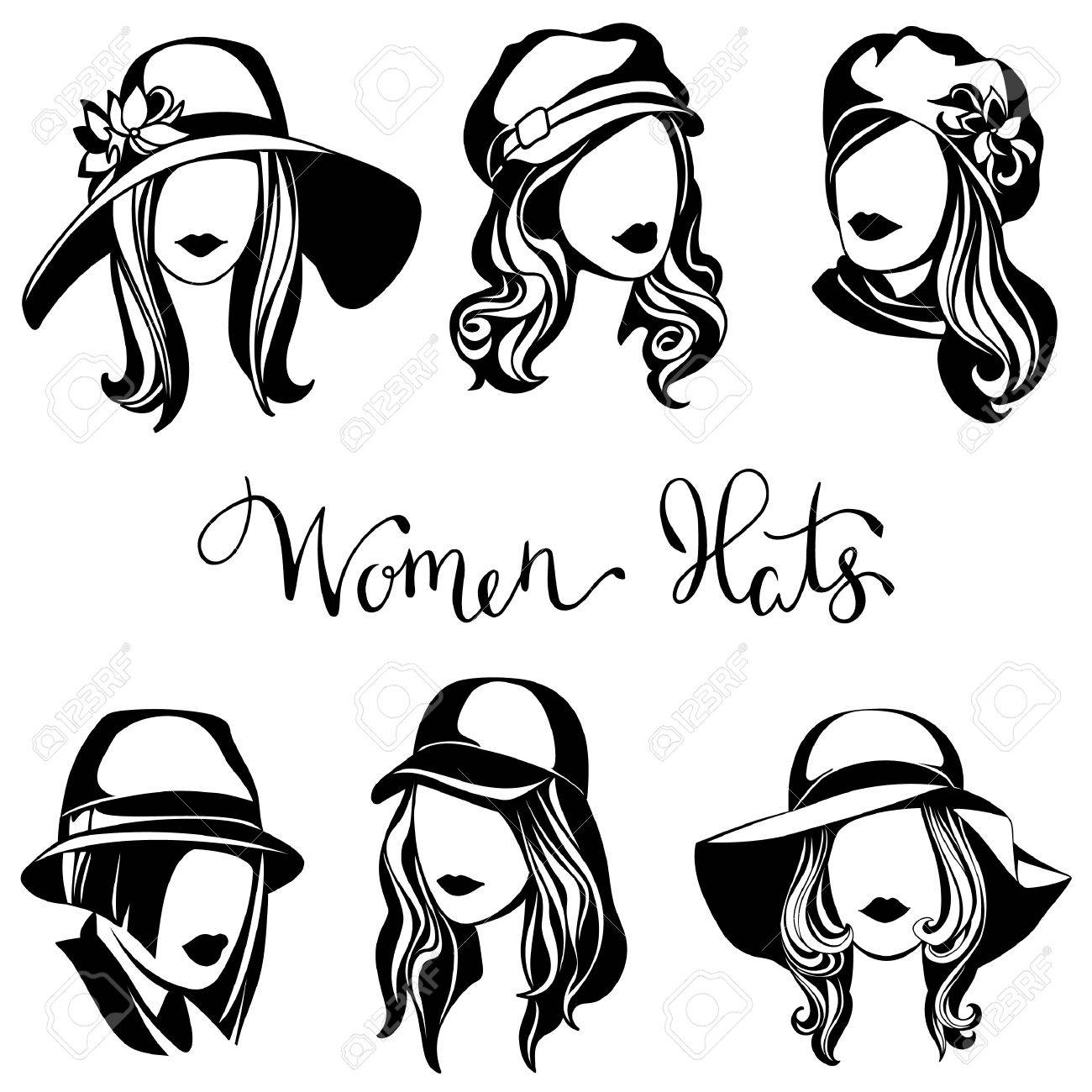 05e095e12bc Vector - vector set of black and white logos of women s hats
