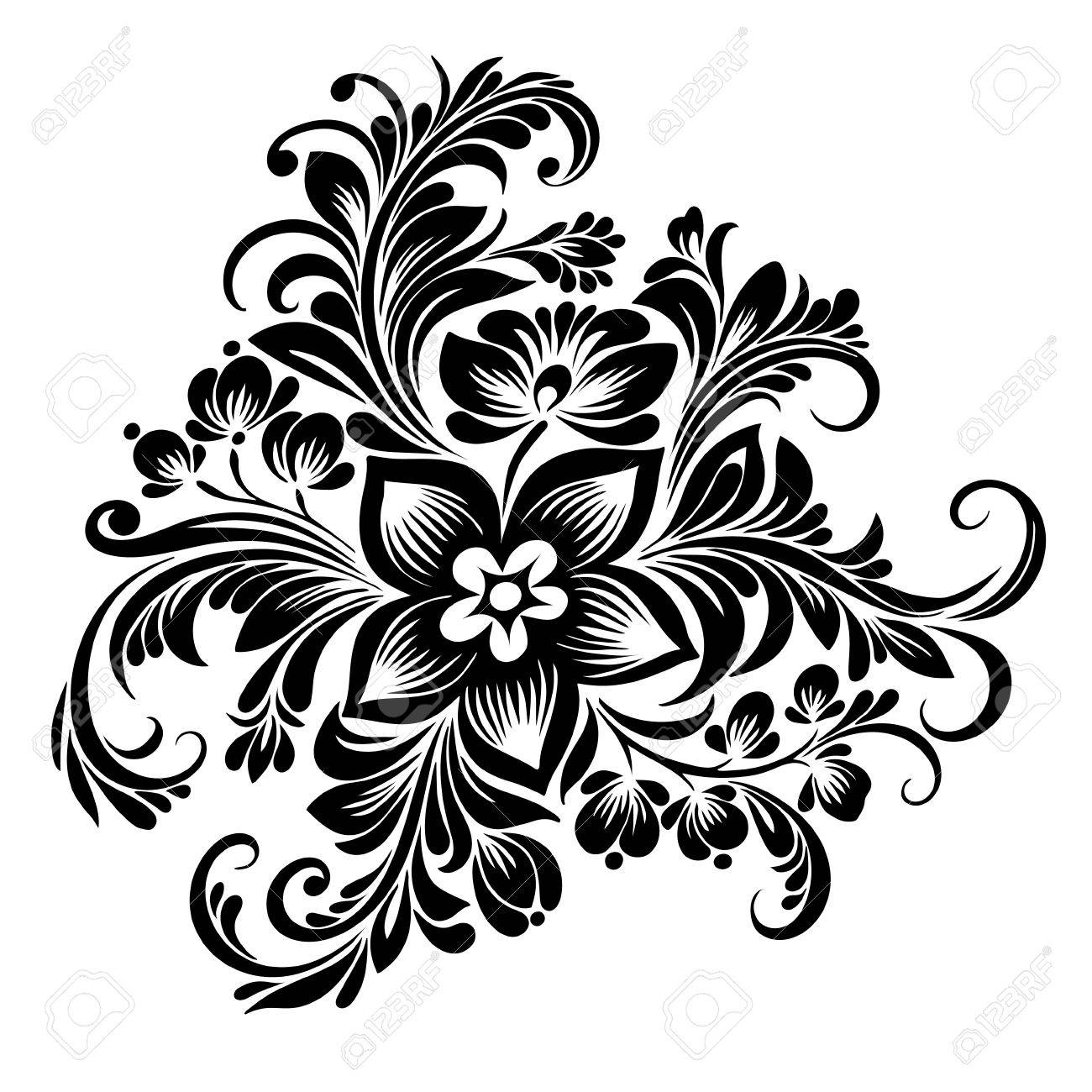 Vector Black And White Pattern Of Stylized Flowers In Folk Style