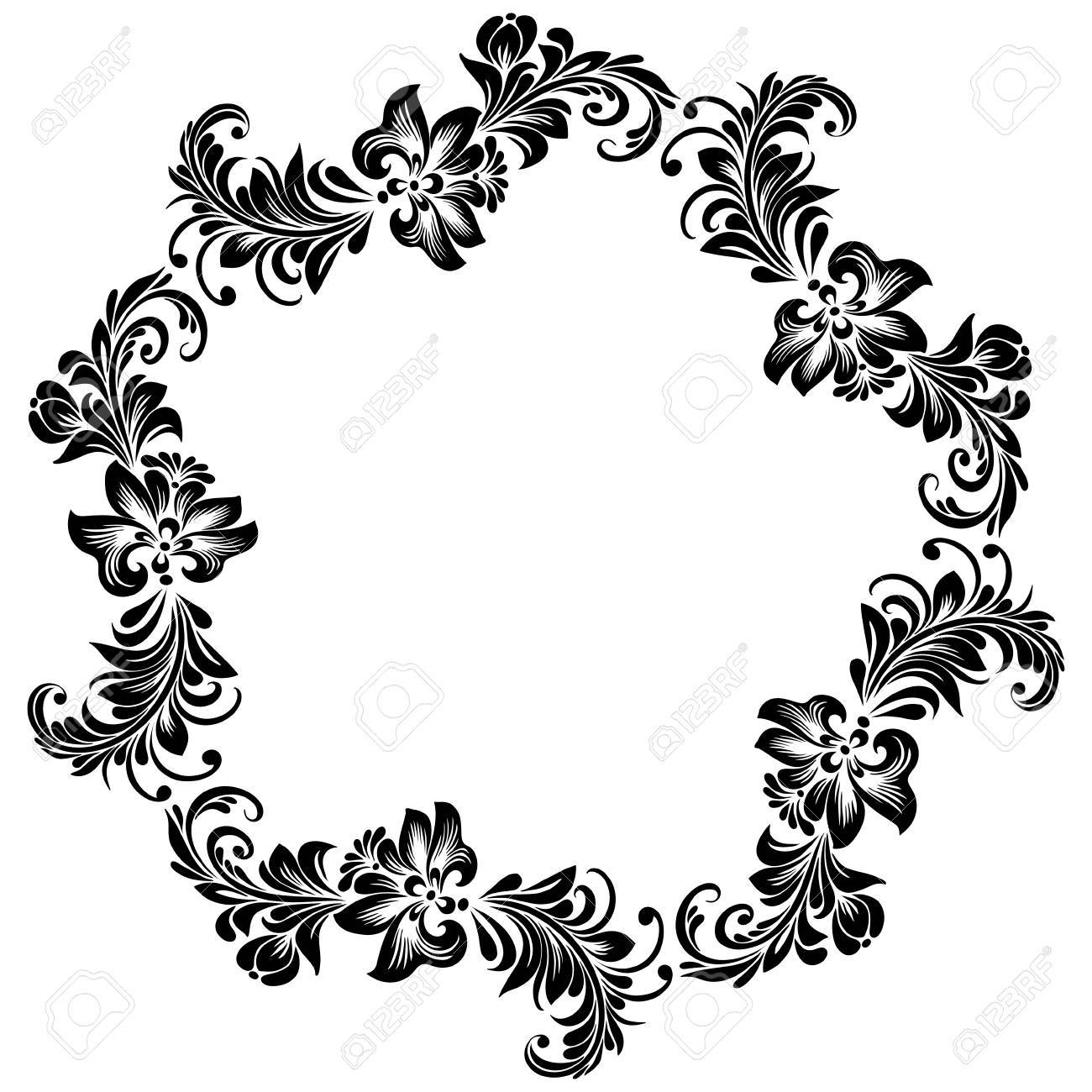 Vector Round Frame For Design With Stylized Floral Ornament ...