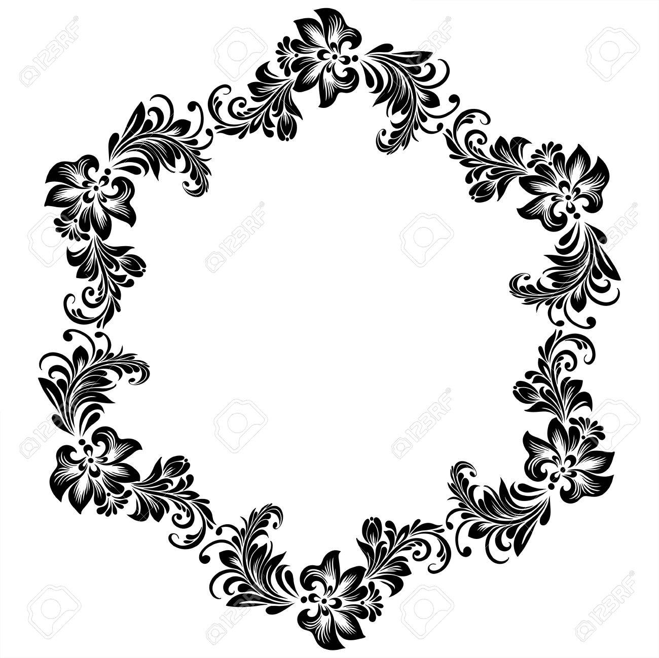 A Vector Round Frame For Design With Stylized Floral Ornament ...