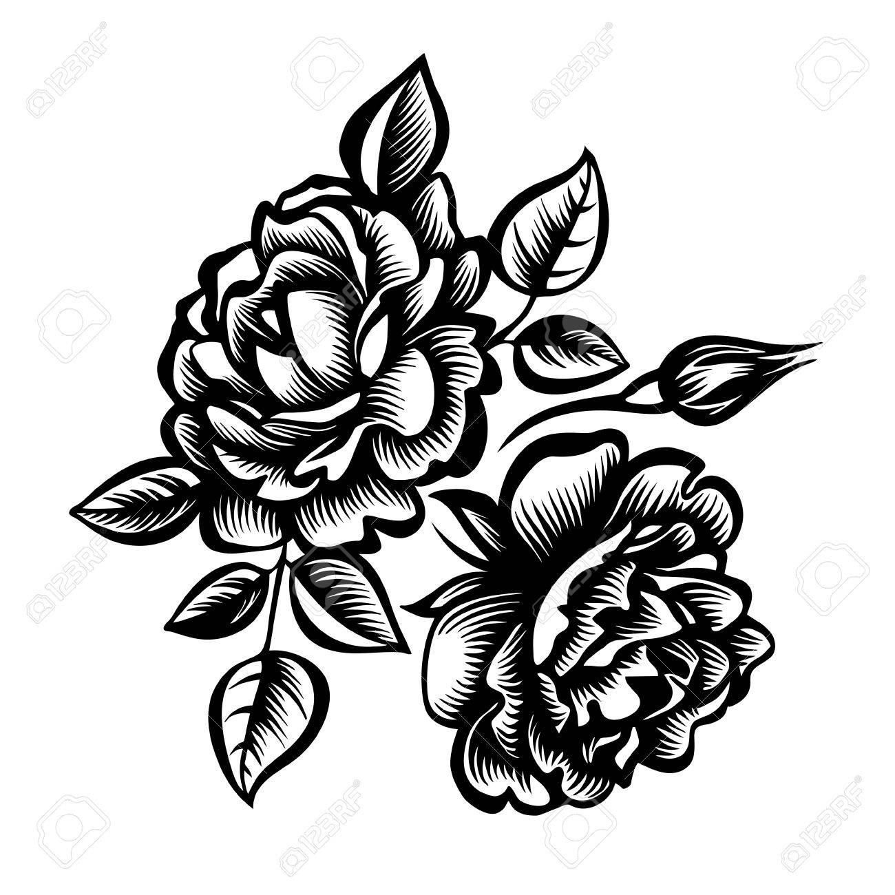 Vector Decorativo En Blanco Y Negro Ramo De Rosas Flores De Peonía