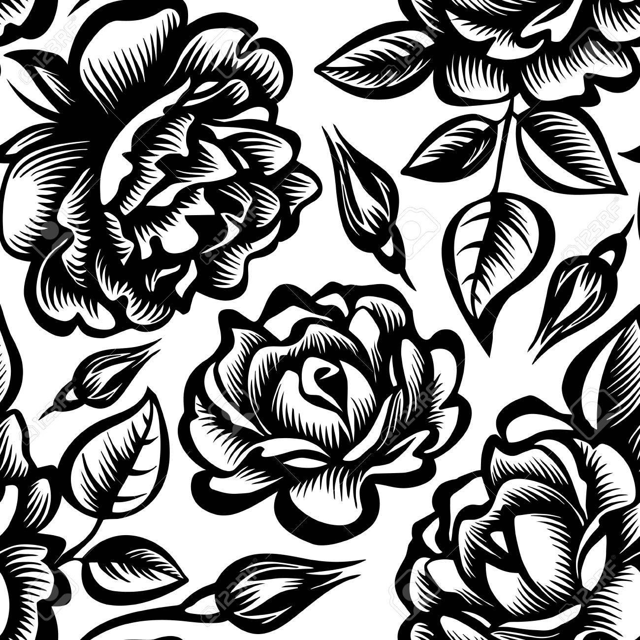 Vector Blanco Y Negro Sin Patrón Con Rosas Estilizadas Y Peonías