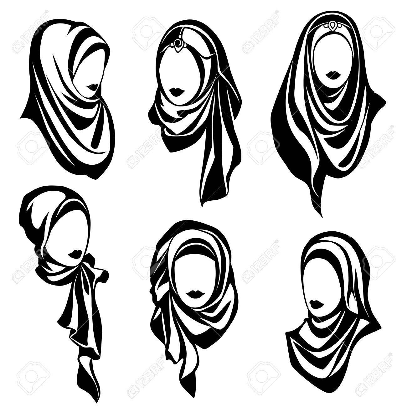 Set of black and white vector logos of muslim oriental girls in hijab