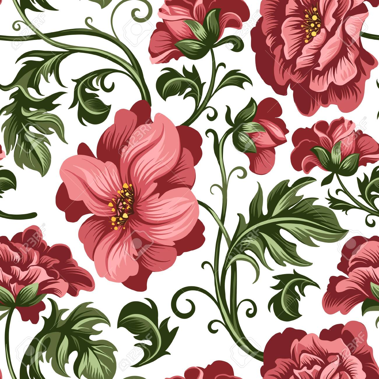 seamless pattern of decorative red peony and rose flowers - 143082048