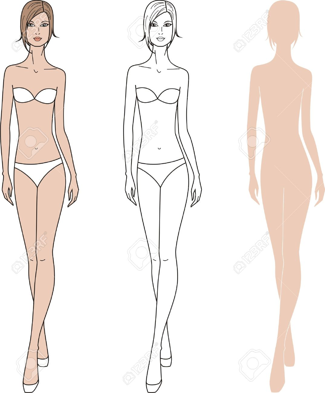 Illustration Of Women S Fashion Figure Three Options Royalty Free