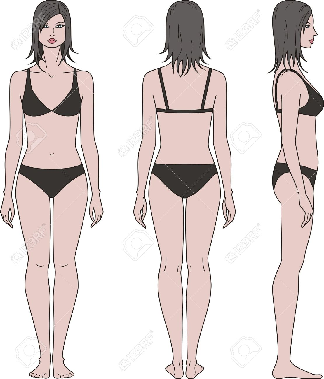 vector illustration of women s figure front back side views