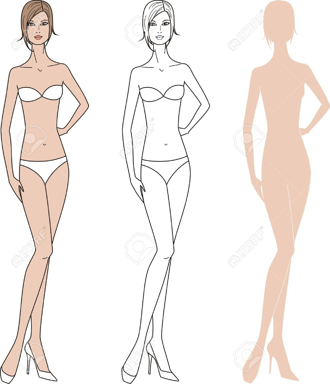Vector Illustration Of Women S Fashion Figure Three Options Royalty