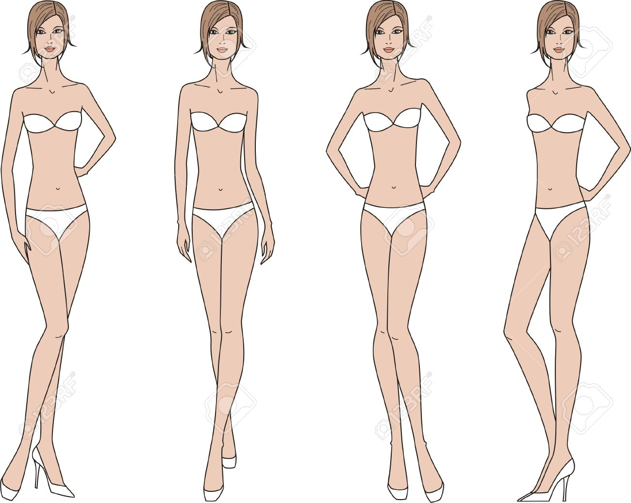 Vector Illustration Of Women S Fashion Figure Four Options Royalty