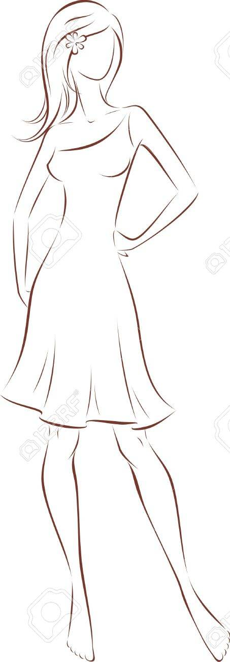 Vector illustration of women s silhouette with long hair in dress Stock Vector - 19333207