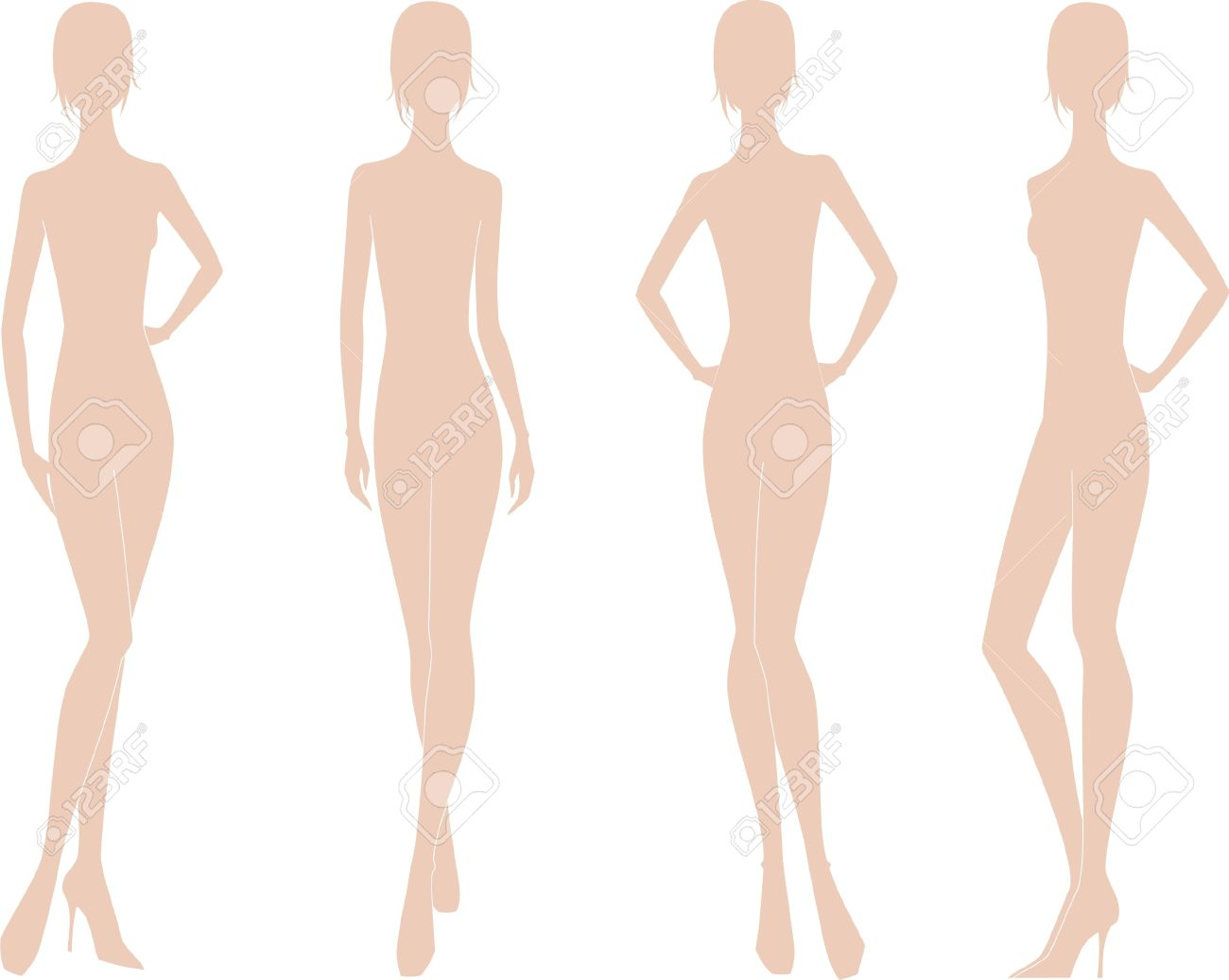 Vector Illustration Of Women S Fashion Figure Four Options