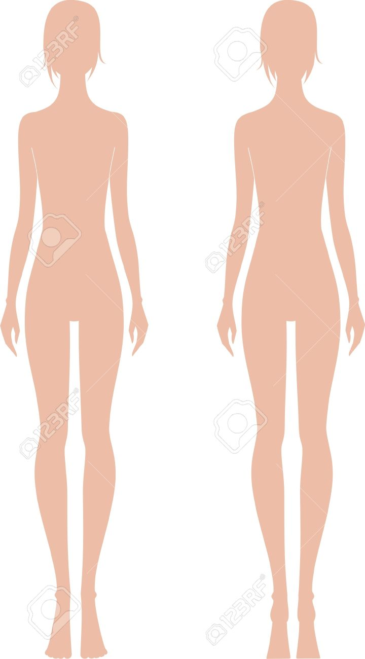 Vector Illustration Of Women S Fashion Figure Front And Back