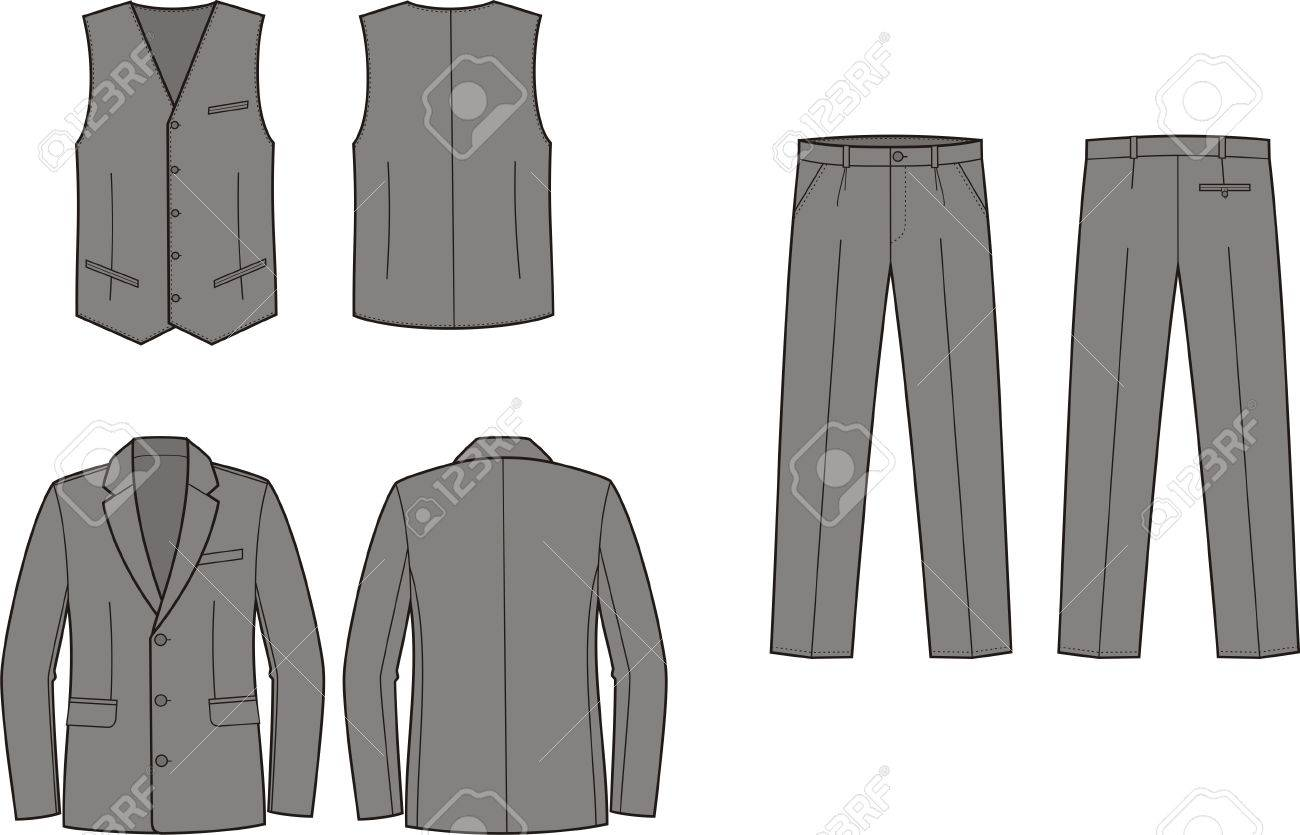 Vector illustration of men s business suit  jacket, vest and pants Stock Vector - 19898780
