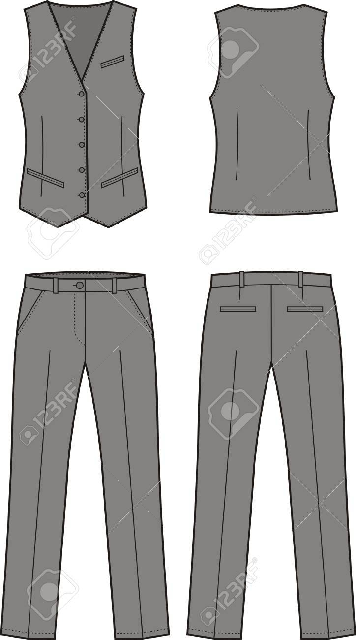 Vector illustration of women s business suit  vest and pants Stock Vector - 19898725