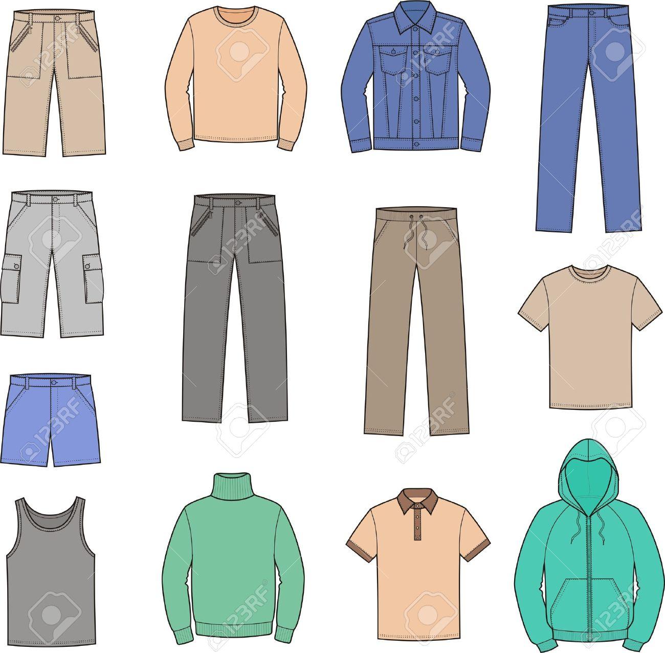 イラストの男性 s カジュアルな服スモック、ジャンパー、一重項、t