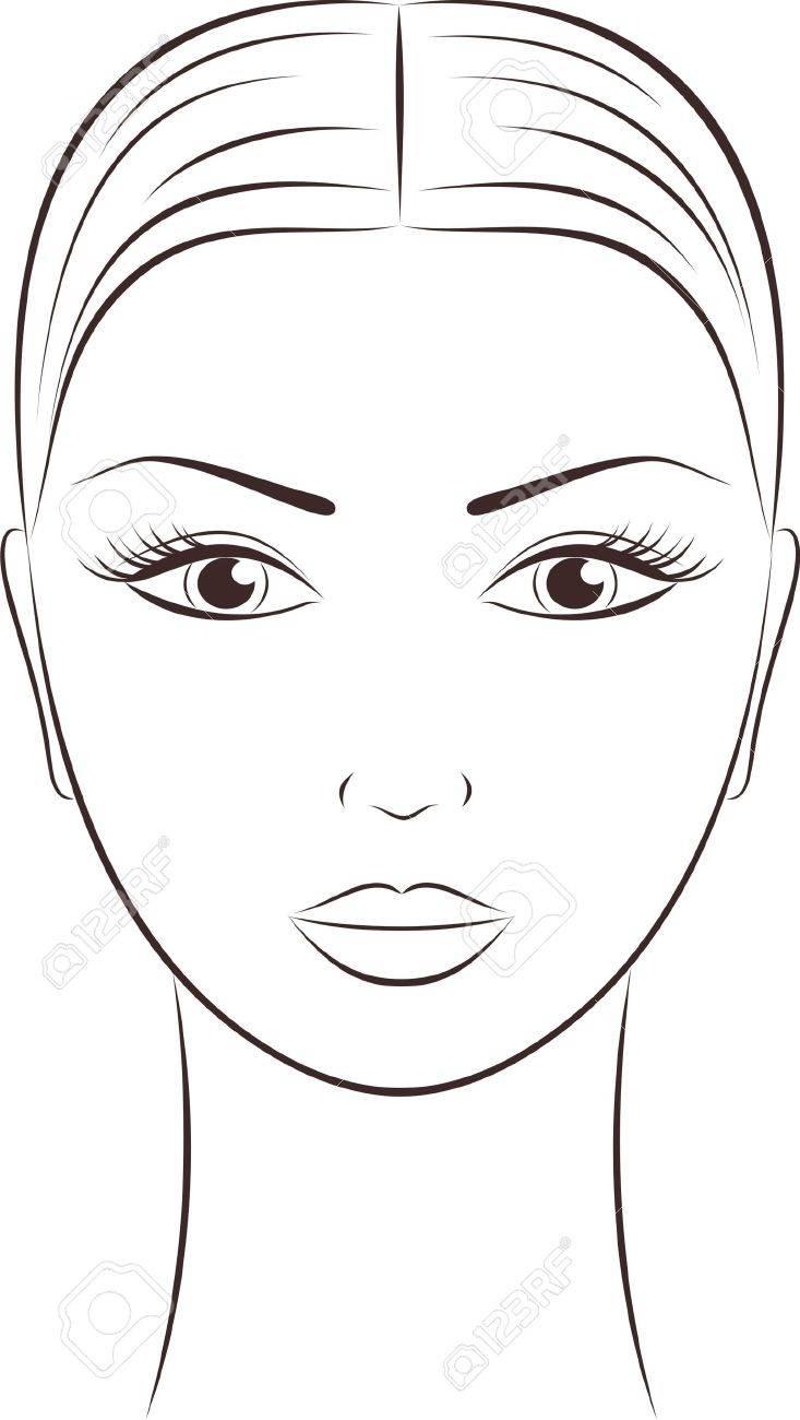 女性の顔のイラスト ロイヤリティフリークリップアート、ベクター