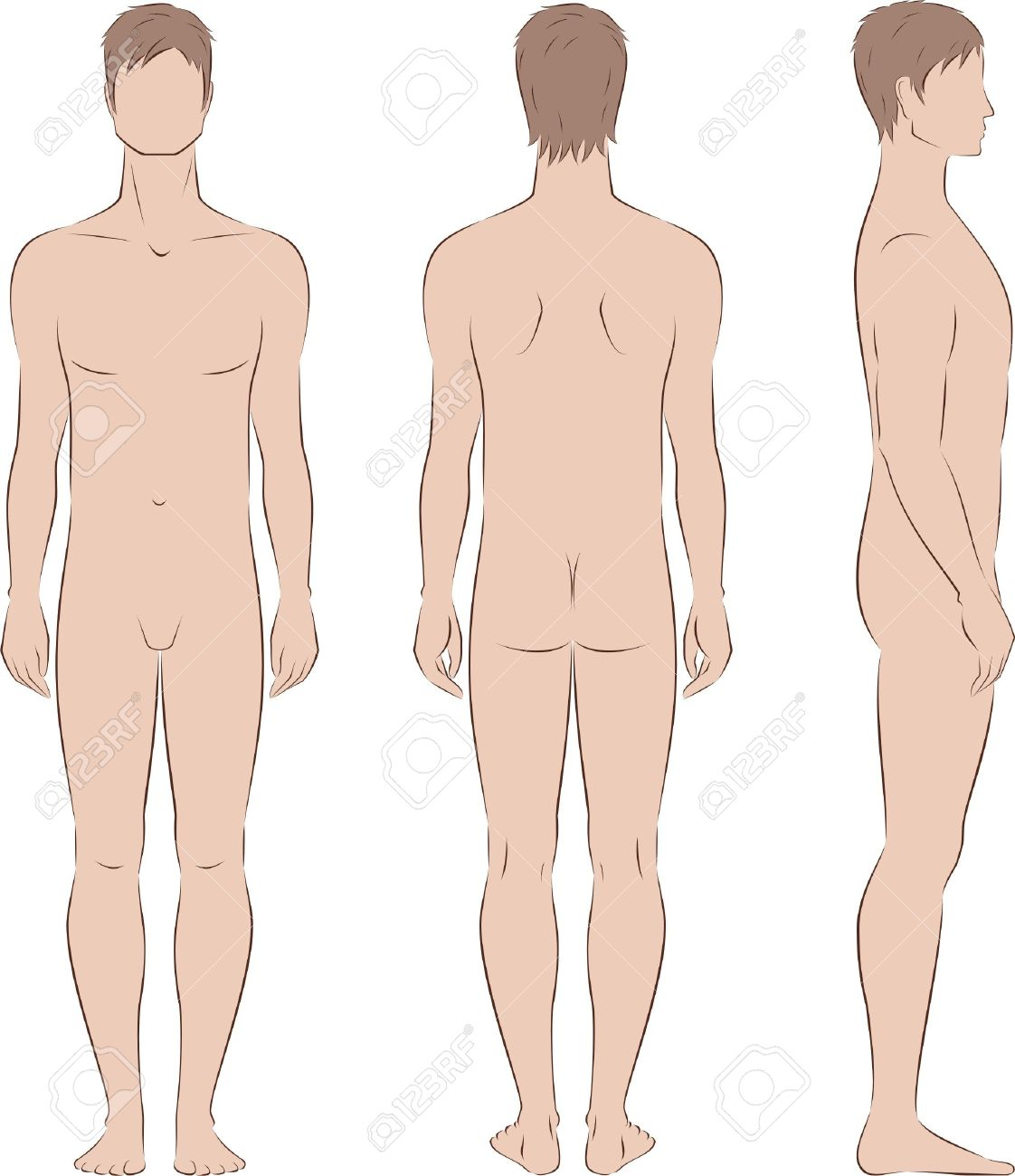 illustration of men s figure  Front, back, side views  Silhouettes Stock Vector - 20075054
