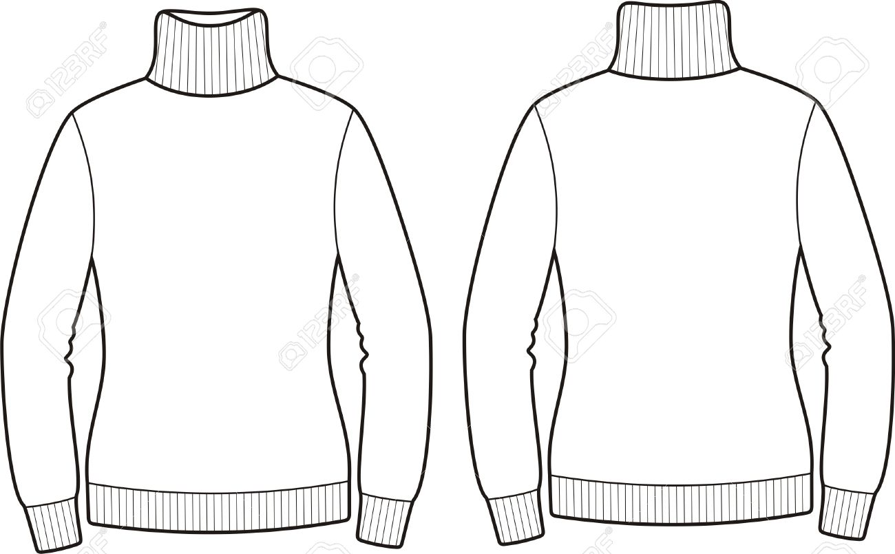 Vector illustration of sweater Front and back views