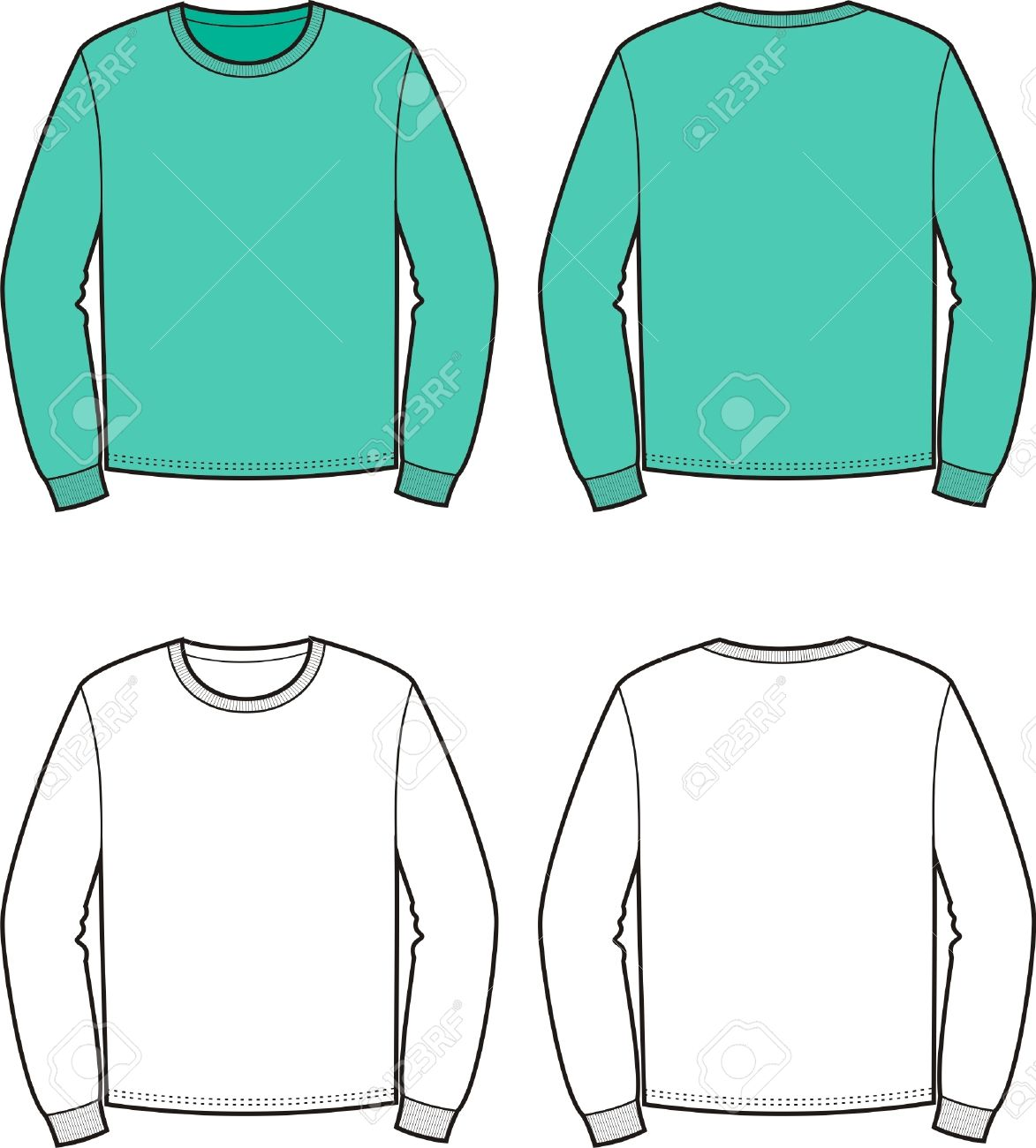 Vector illustration of men s jumper Front and back views