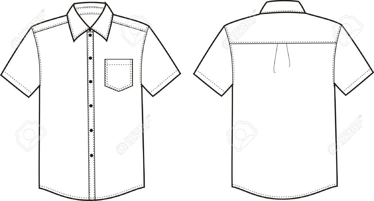 Vector illustration of men s shirt  Front and back views Stock Vector - 20221718