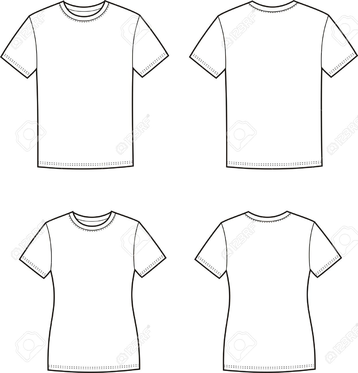 Black t shirt vector front and back - Illustration Of Men S And Women S T Shirts Front And Back Views Stock Vector
