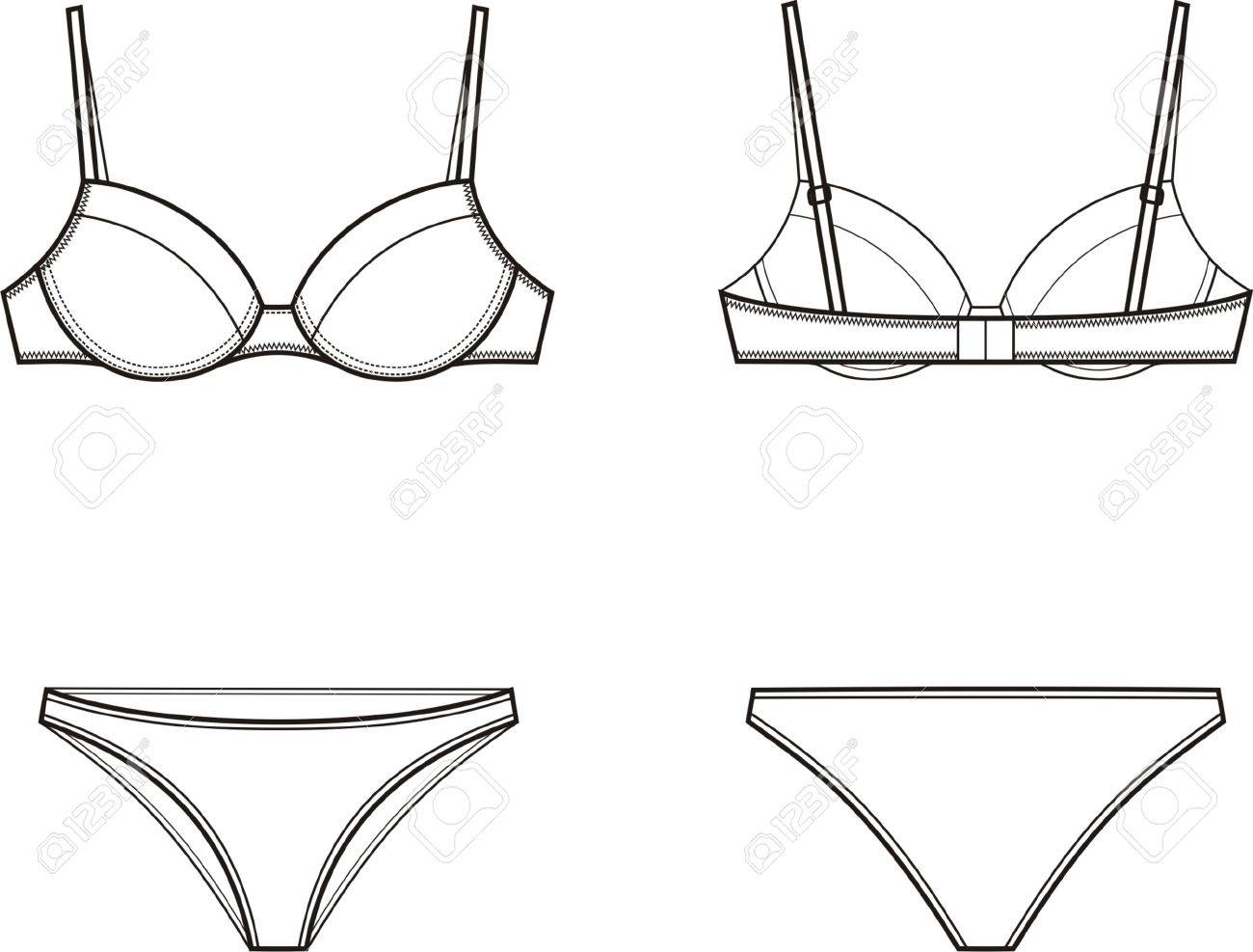 illustration of women s underwear set Bra and panties Front and back views  Stock Vector - 9345d0209