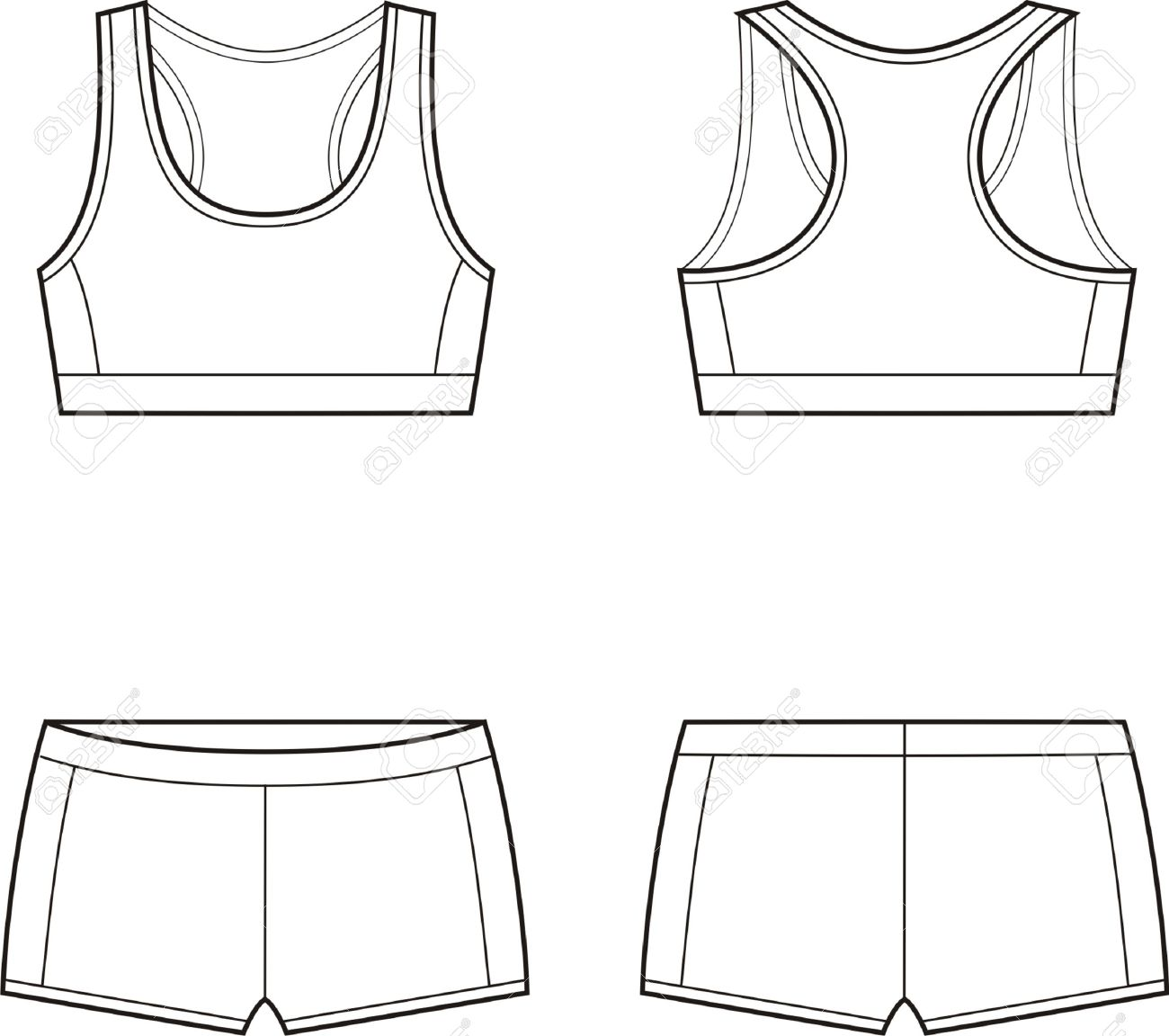 85ab003354905 Vector - Vector illustration of women s sport underwear Bra and shorts  Front and back views