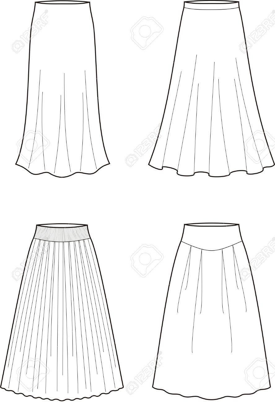 女性 S ロング スカートのベクトル イラスト
