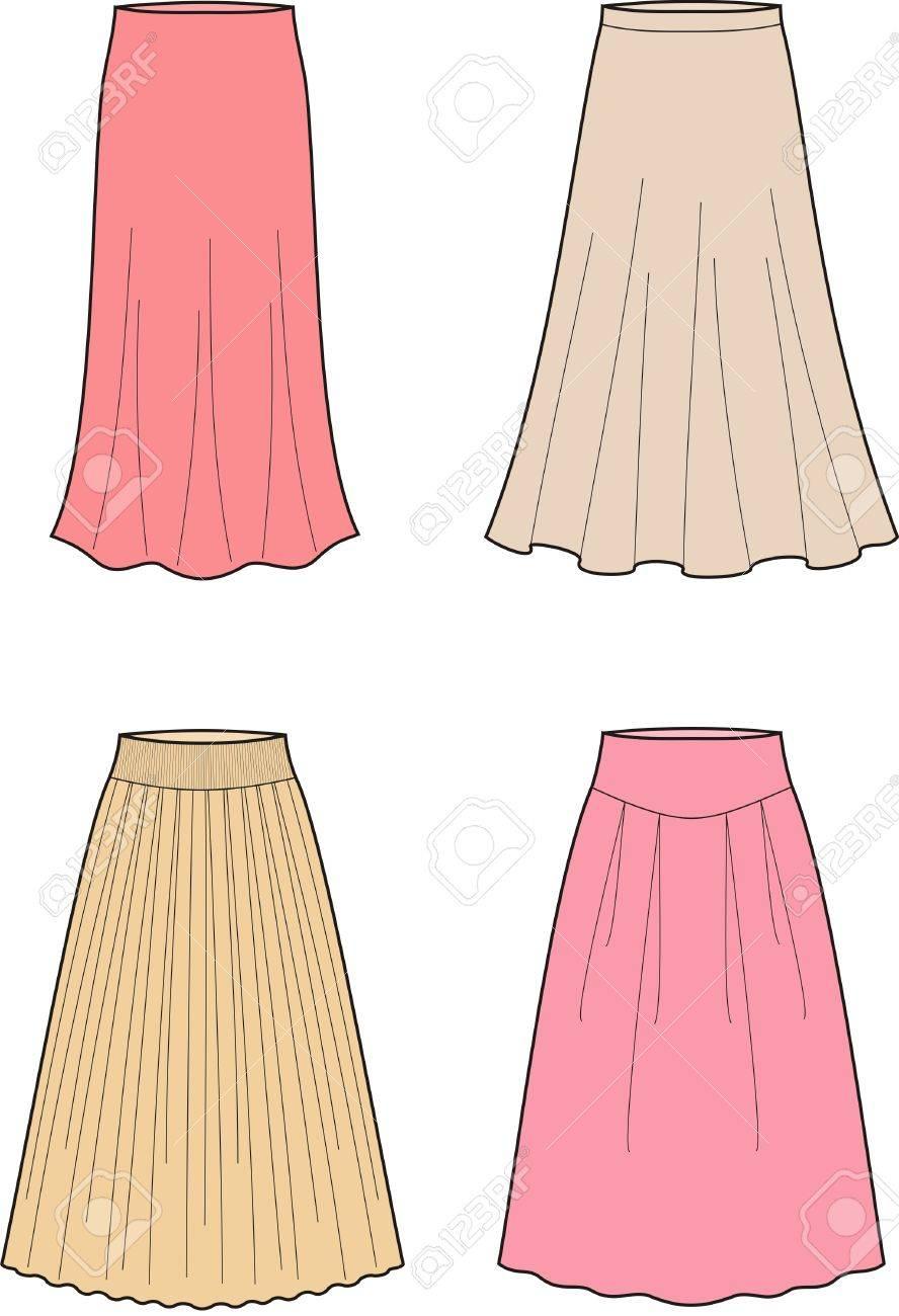 女性 S ロング スカートのベクトル イラストのイラスト素材ベクタ