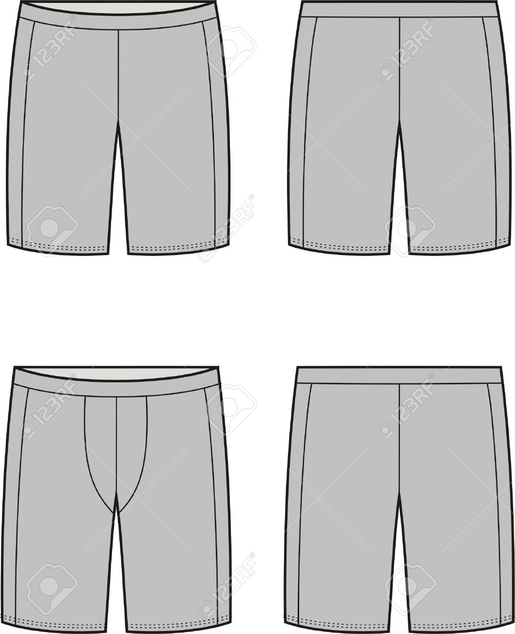 6fcd7a574f0e4 Vector - Vector illustration of mens and womens sport shorts. Front and  back views
