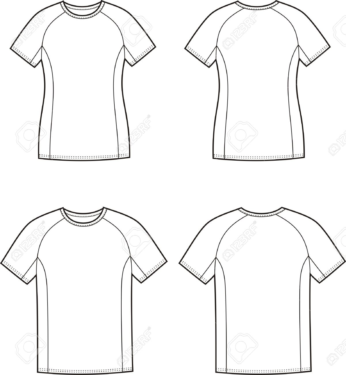 Black t shirt vector front and back - Vector Illustration Of Mens And Womens Sport T Shirt Front And Back Views Stock