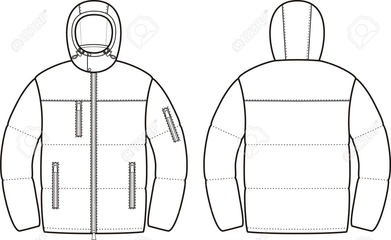 ダウン ジャケット メンズ冬のベクター イラストです正面と裏面の