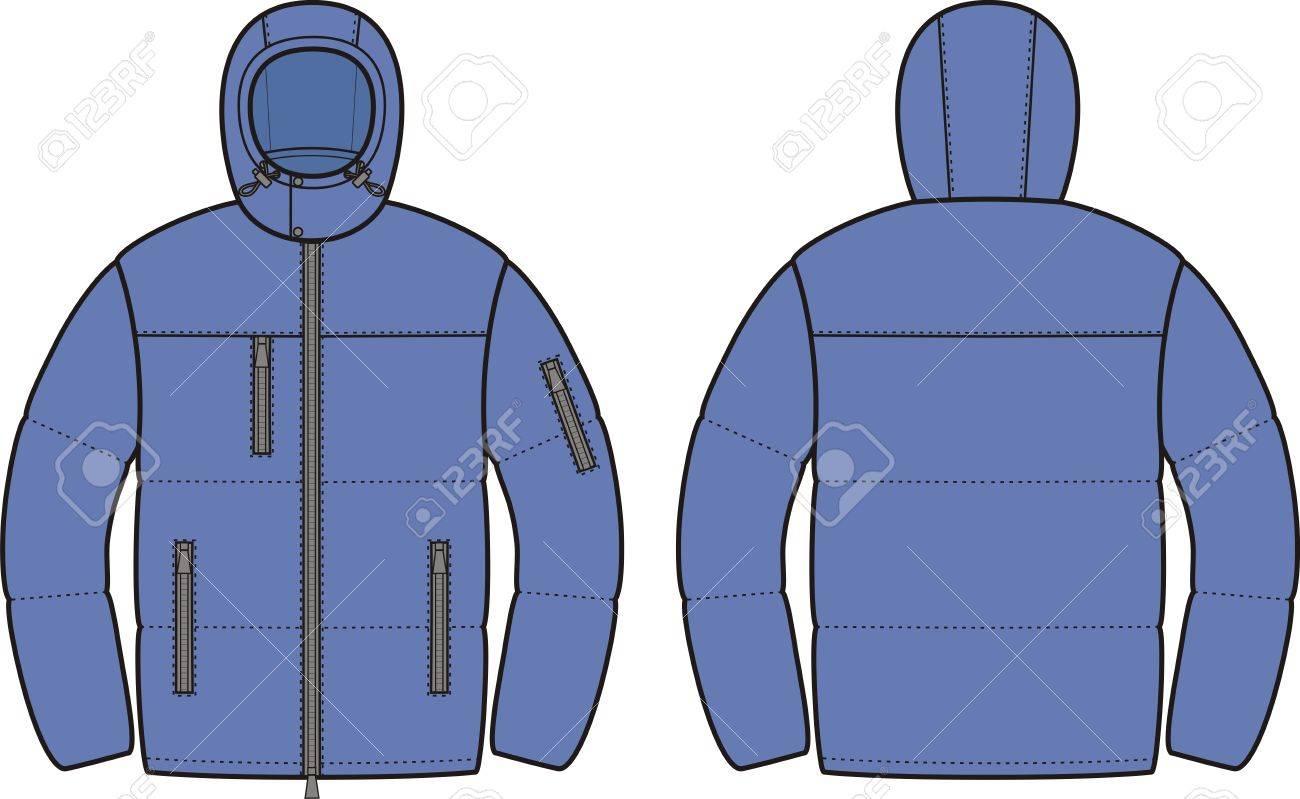 ダウン ジャケット メンズ冬のベクトル イラスト前面図と背面図の