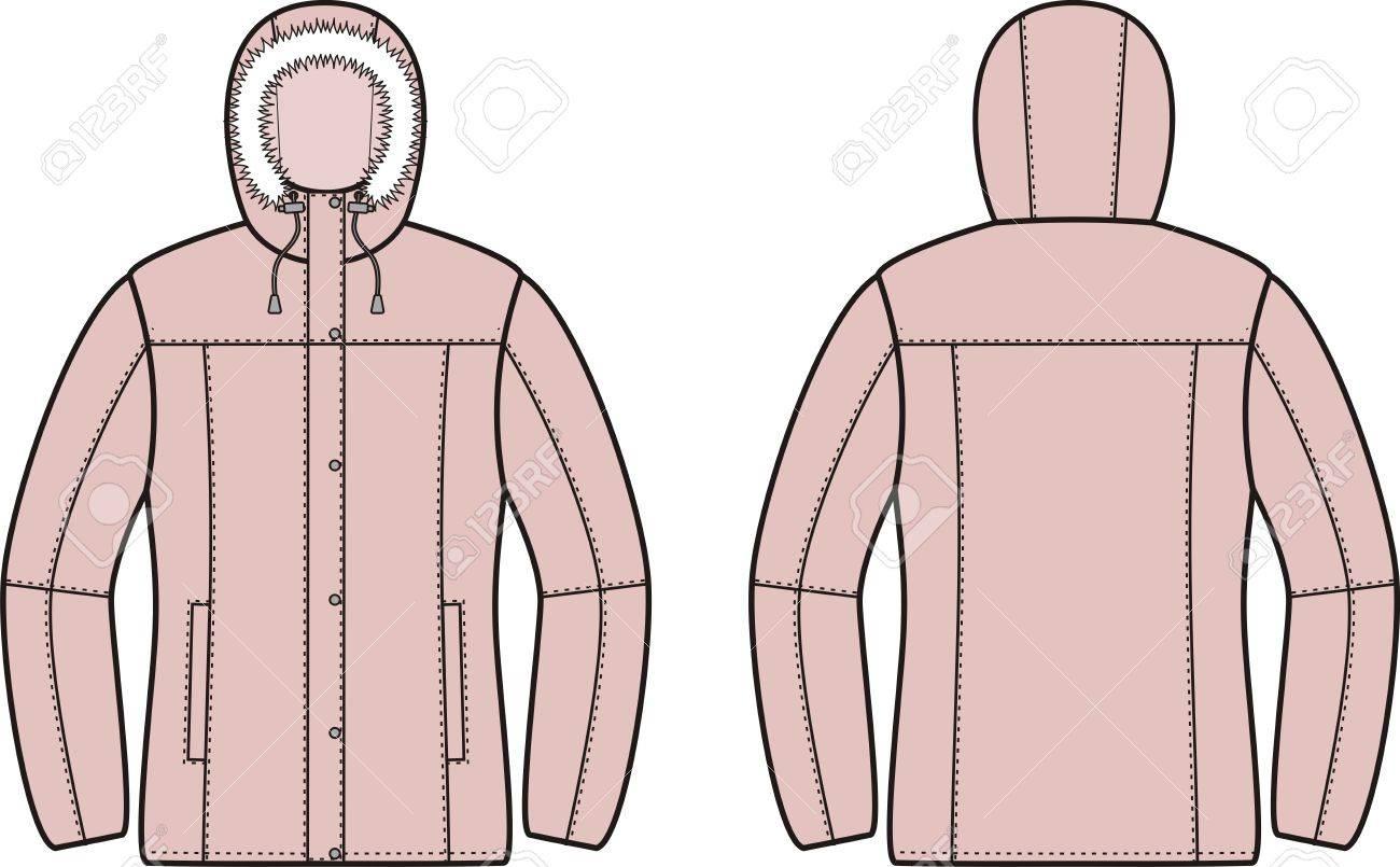 冬はダウン ジャケットのイラスト正面と裏面のイラスト素材ベクタ